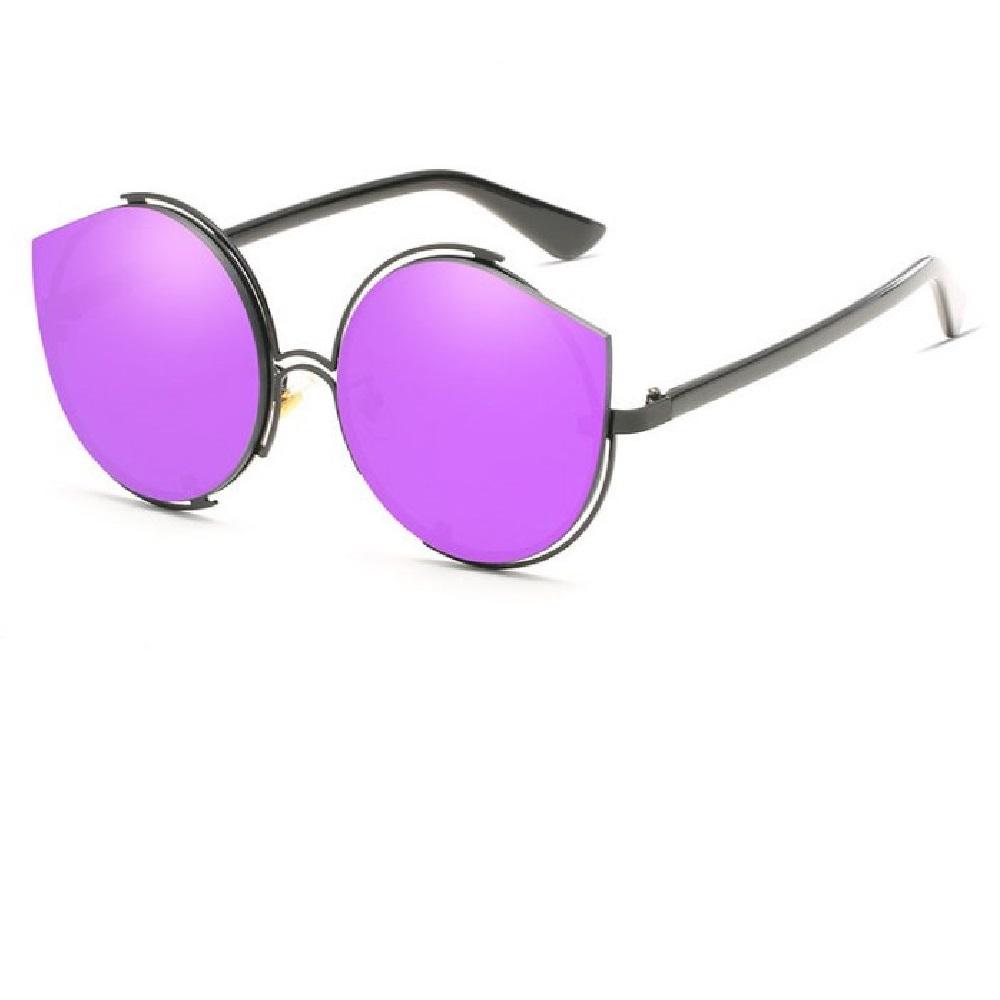 Огледални лилави котешки очила с кръгъл дизайн