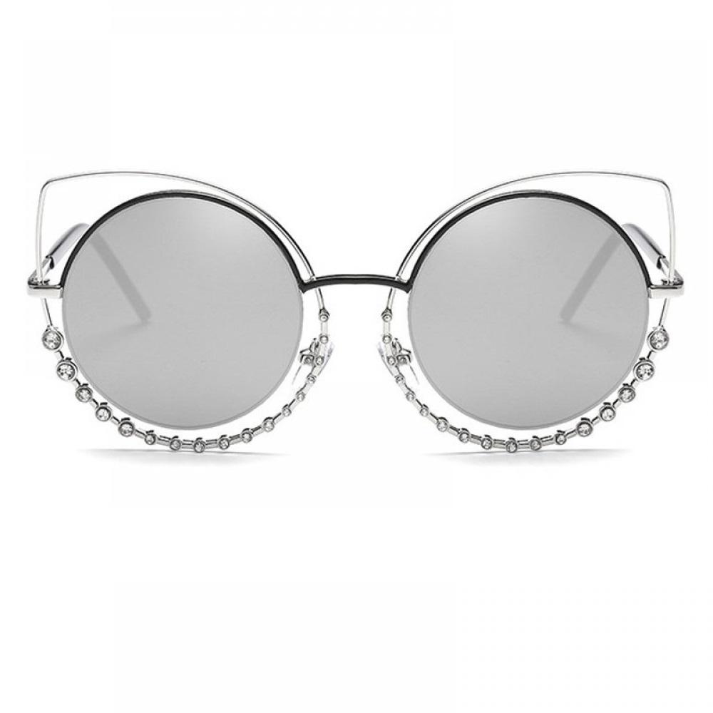 Огледални очила котешки очи с кристали