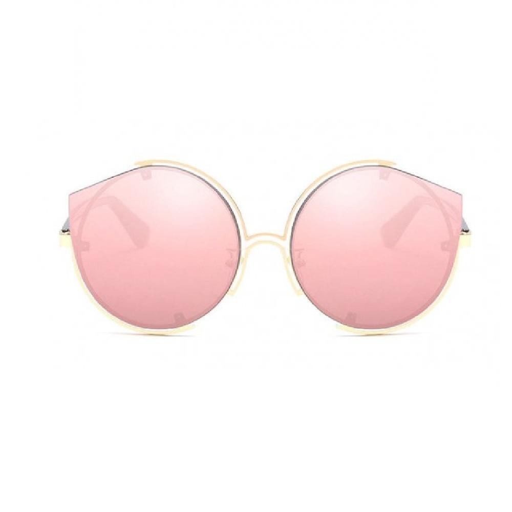 Огледални розови котешки очила с кръгъл дизайн