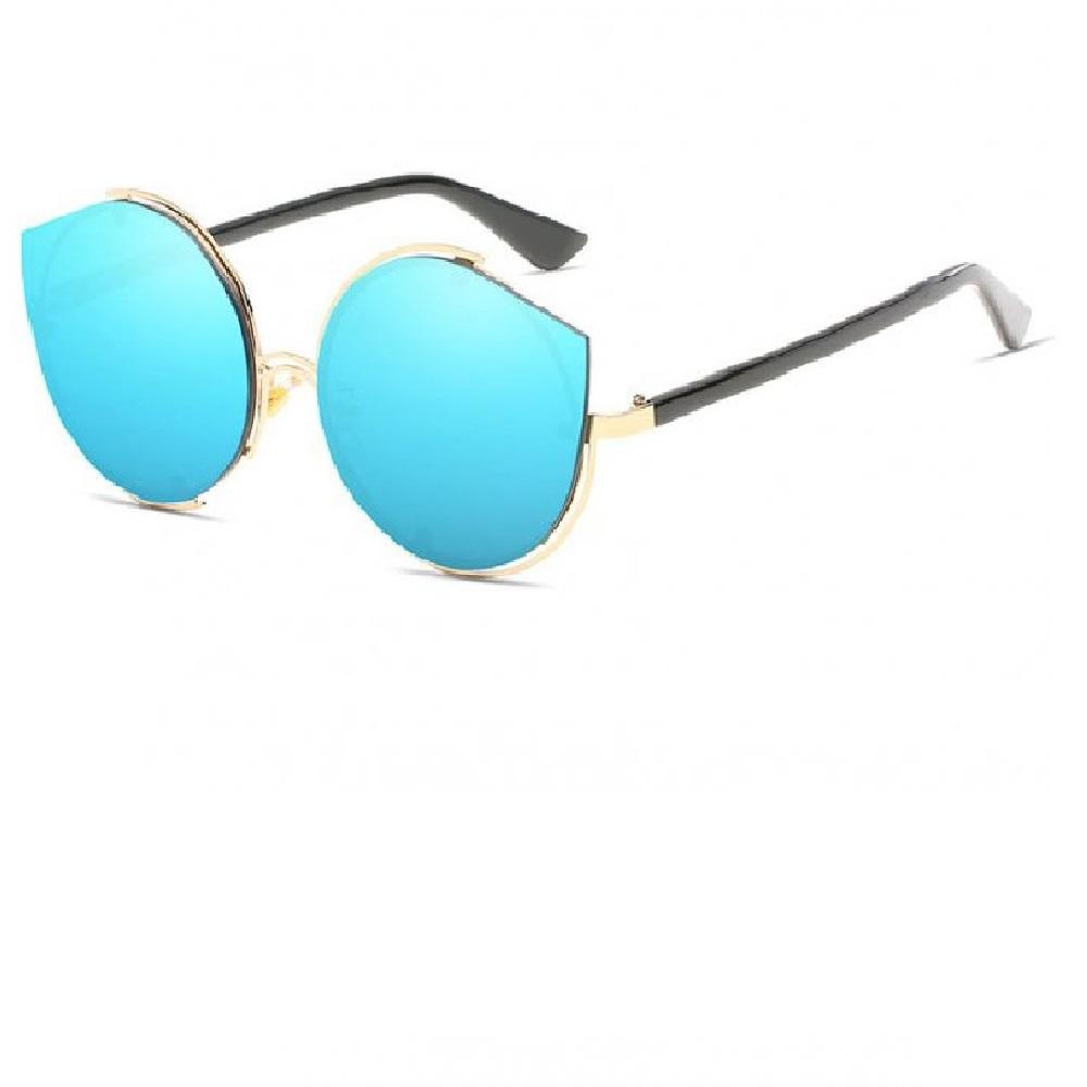 Огледални сини котешки очила с кръгъл дизайн