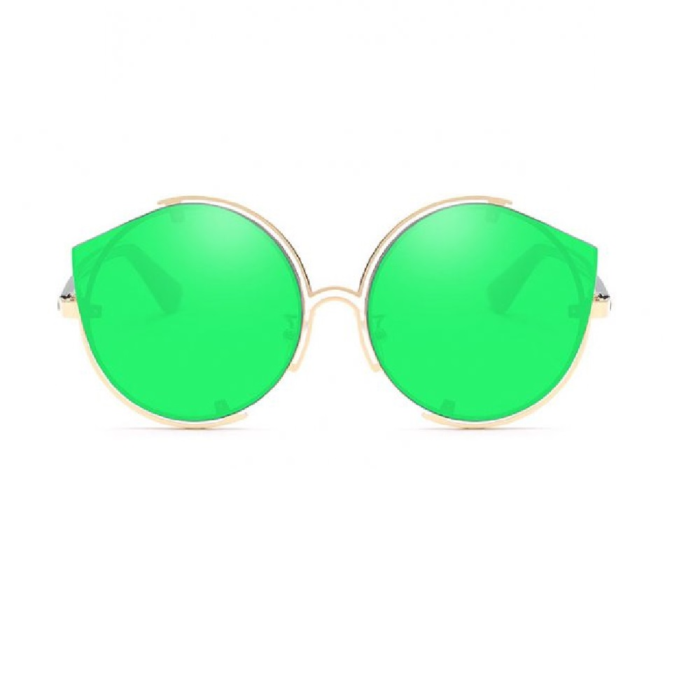 Огледални зелени котешки очила с кръгъл дизайн