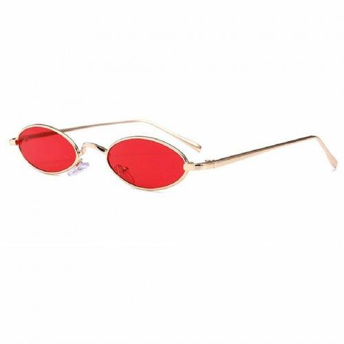 Овални очила с червени стъкла