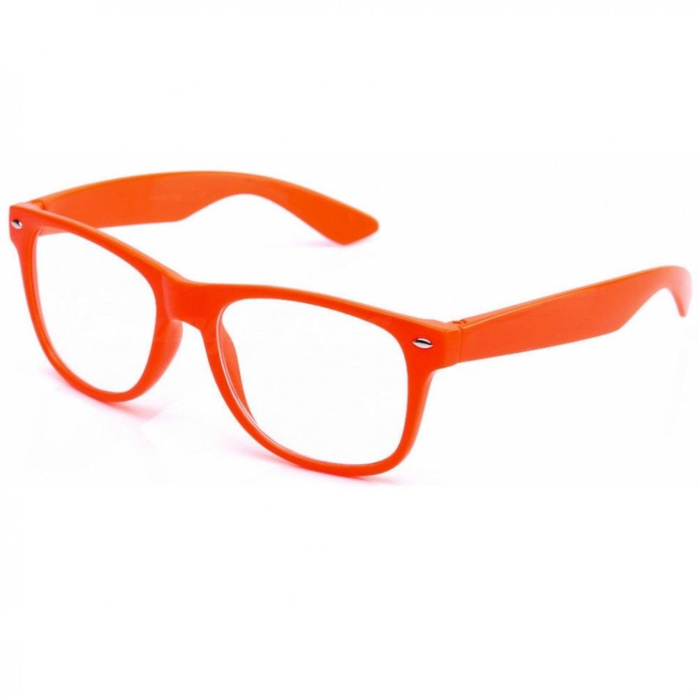 Прозрачни очила рамки в сигнален цвят