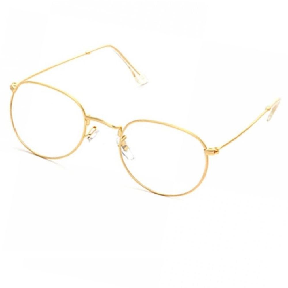 Прозрачни овални очила златни рамки
