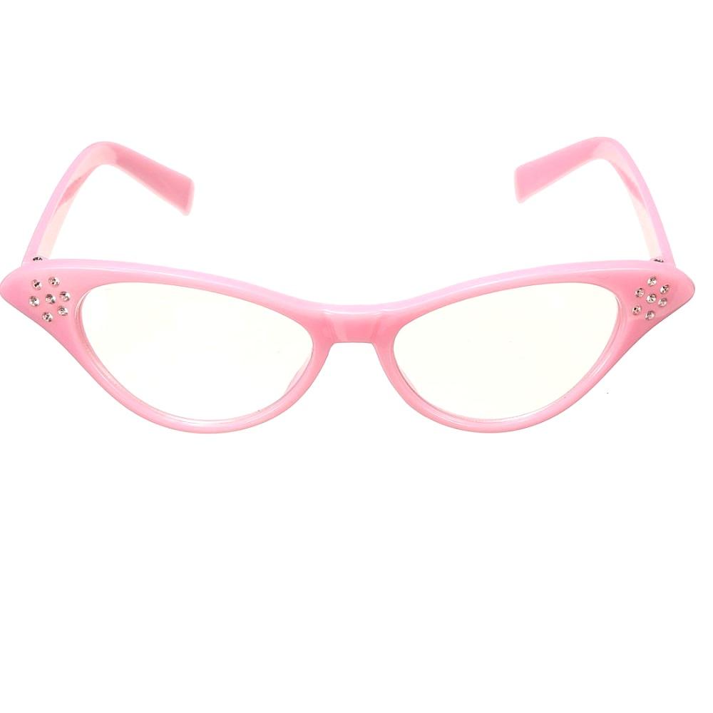 Розови котешки очила с кристали