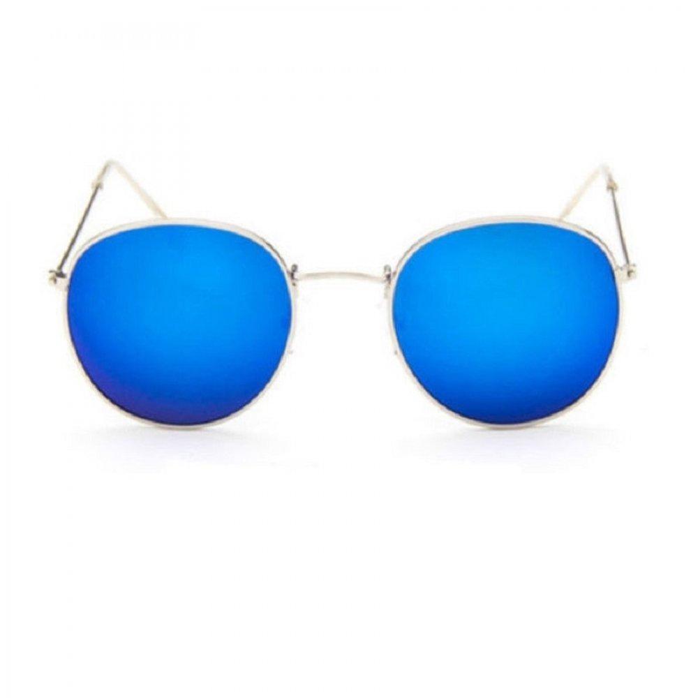 Сини огледални очила с полуовална бяла рамка