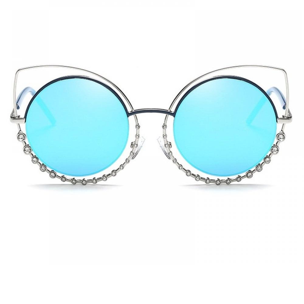 Сини огледални очила котешки очи с кристали