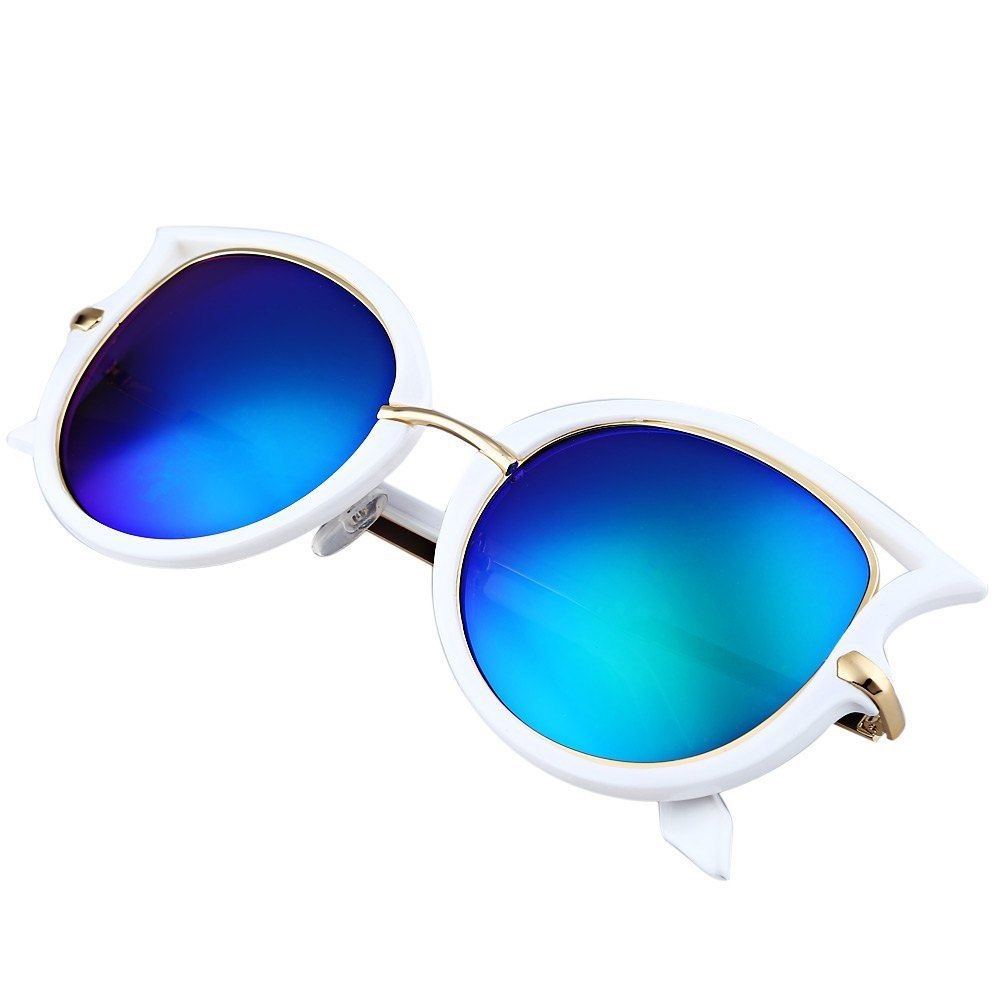 Слънчеви котешки очила сини стъкла бяла рамка