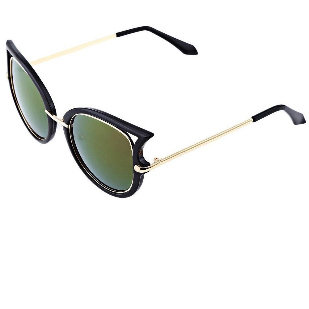 Слънчеви котешки очила зелени стъкла с преливане
