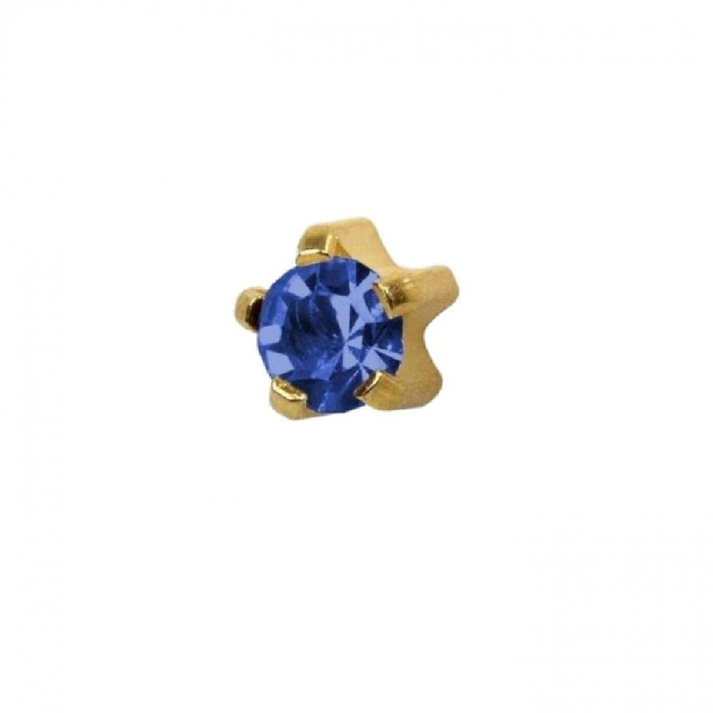 Стерилни медицински обеци със син кристал