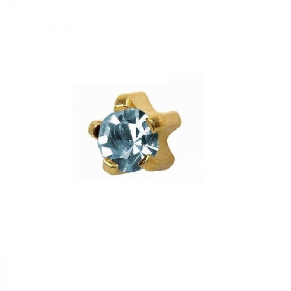 Стерилни обеци медицинско злато със светло син кристал