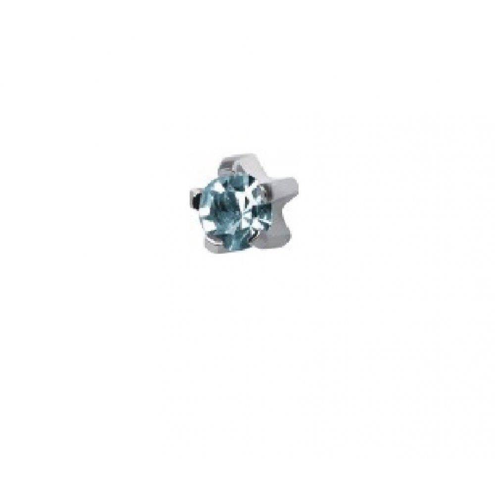 Стерилни обеци със светло син кристал