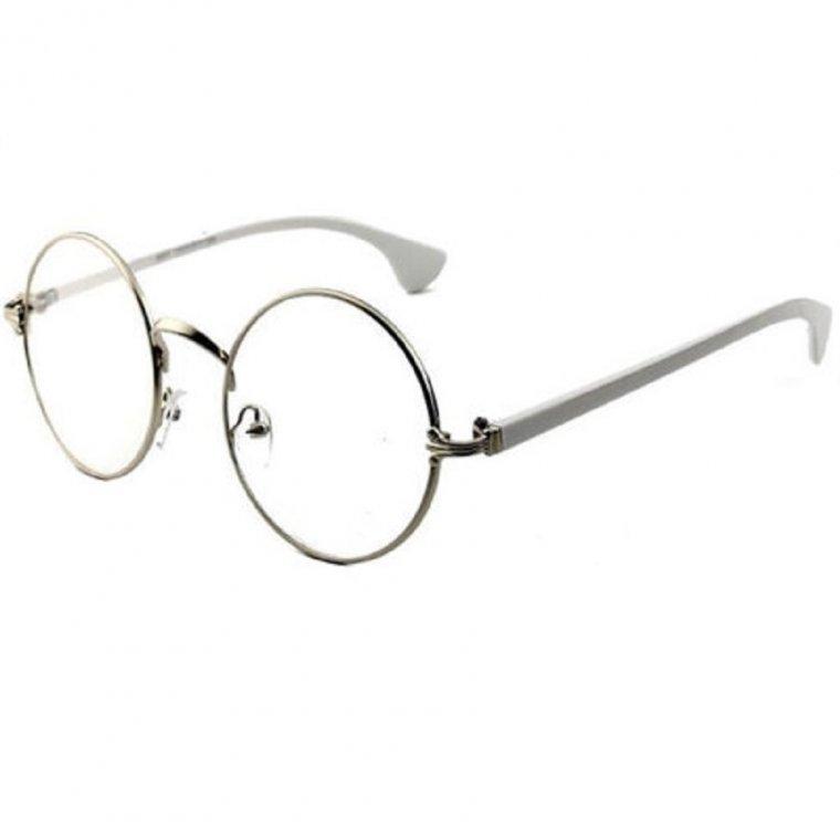 Универсални стилни прозрачни кръгли очила в бяло