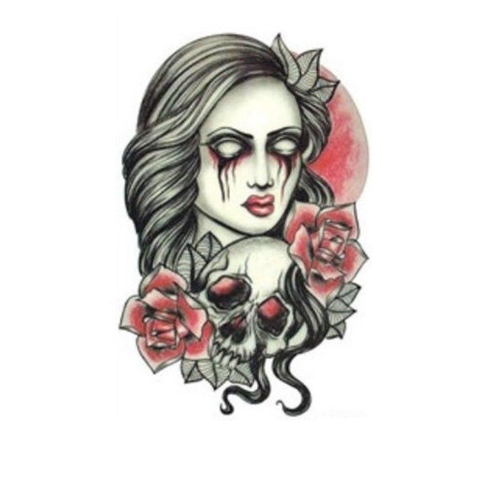 Водоустойчиво изображение на жена с череп и цветя