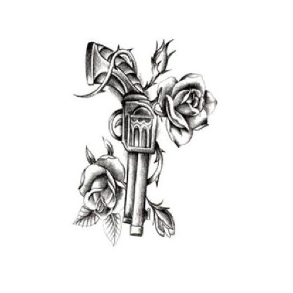 Временна татуировка, револвер с рози