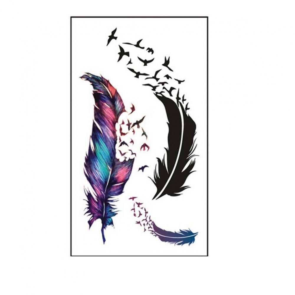 Временна татуировка с перо