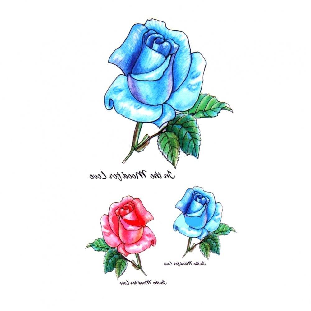 Временна татуировка, сини и червени рози