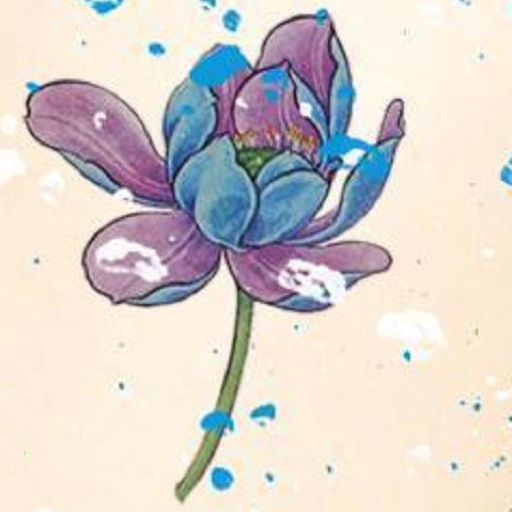 Временна татуировка сини цветя