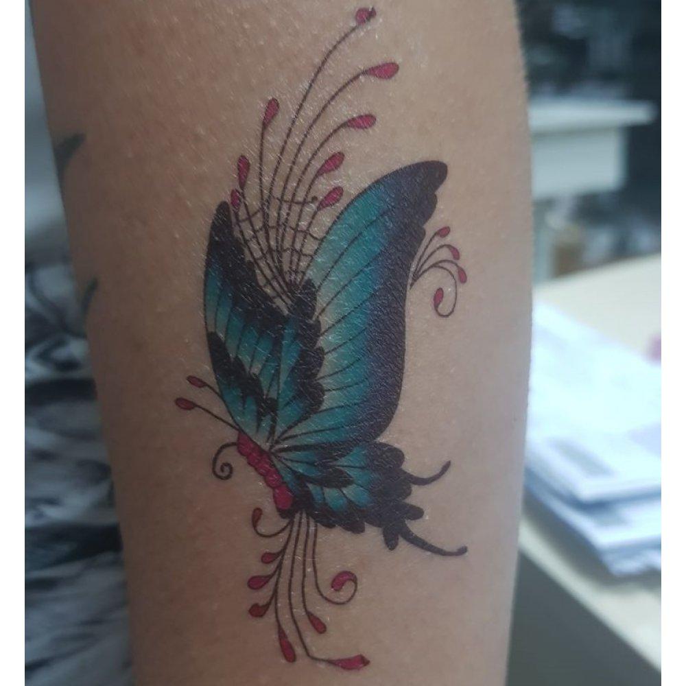 Временна татуировка сини цветя пеперуда