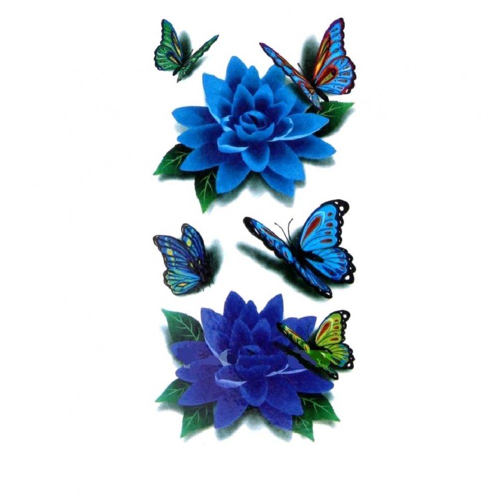 Временна татуировка, сини цветя за рамо и плешка