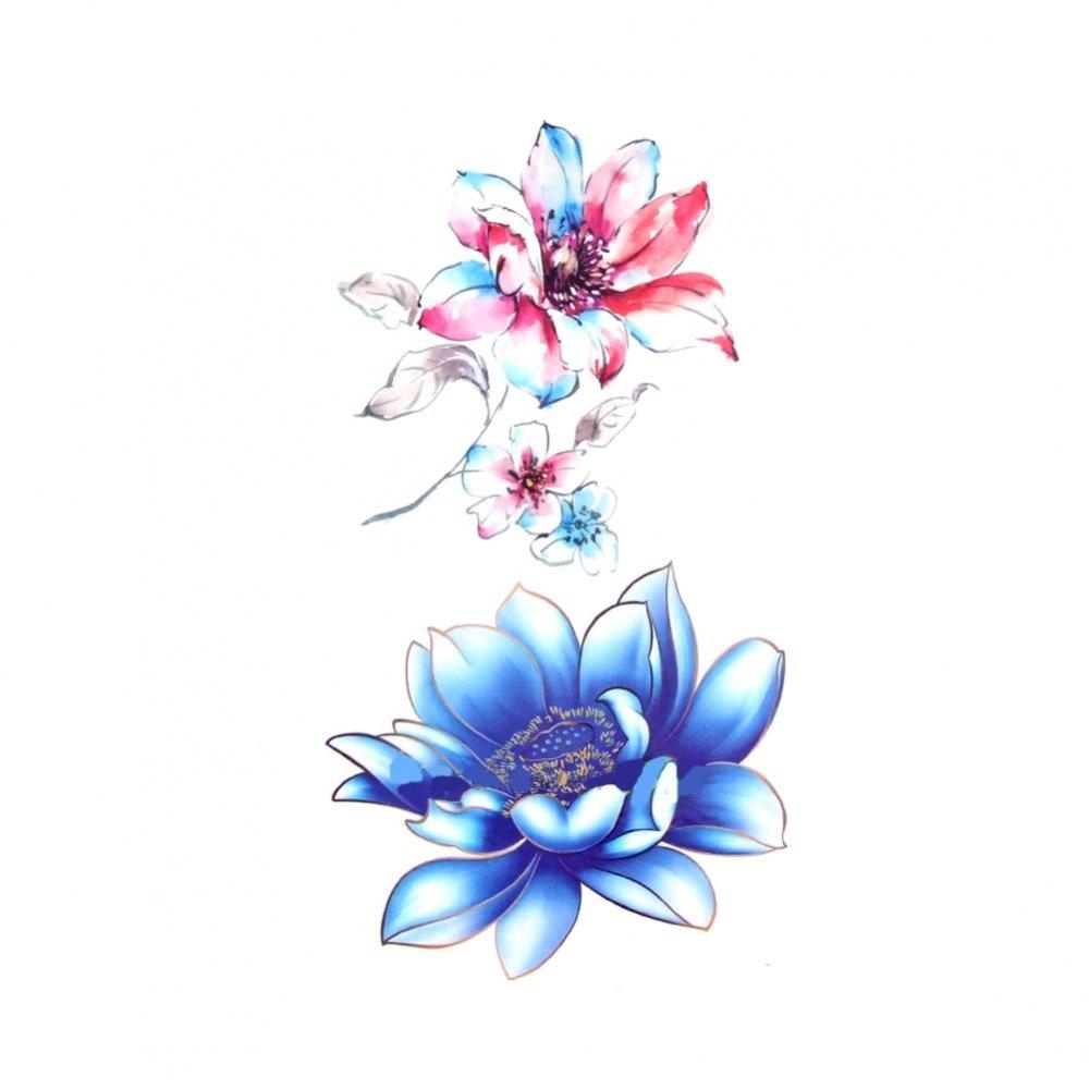 Временна татуировка, синя орхидея
