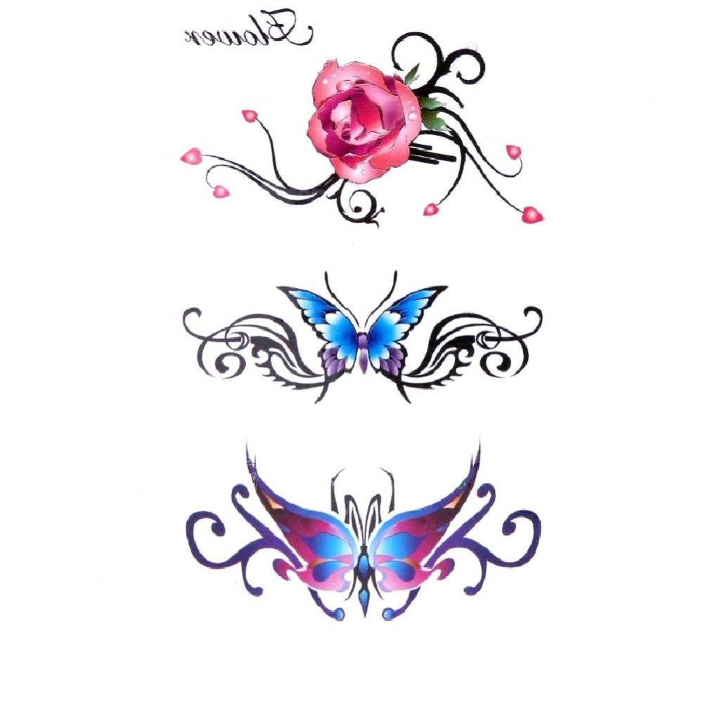 Временна татуировка цветя с плетеница за рамо